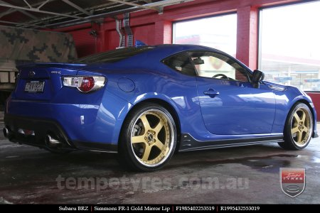 19x8.5 19x9.5 Simmons FR-1 Gold on SUBARU BRZ