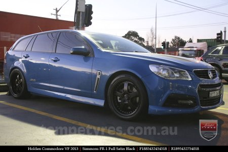 18x8.5 18x9.5 Simmons FR-1 Satin Black on HOLDEN VF COMMODORE