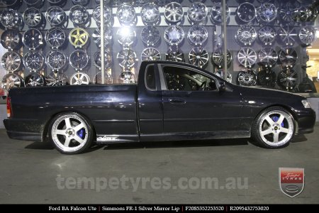 20x8.5 20x9.5 Simmons FR-1 Silver on FORD BA FALCON UTE