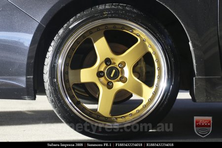 18x8.5 18x9.5 Simmons FR-1 Gold on SUBARU IMPREZA