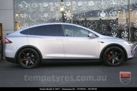 22x9.5 Simmons S6 Matte Black on TESLA MODEL X