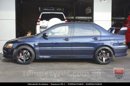 18x8.0 18x9.0 Simmons FR-C Matte Black NCT on MITSUBISHI EVO