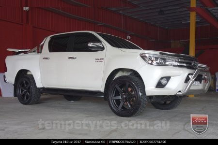 20x9.0 Simmons S6 Matte Black on TOYOTA HILUX