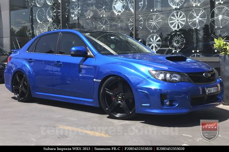 20x8.5 20x10 Simmons FR-C Full Satin Black on SUBARU IMPREZA WRX