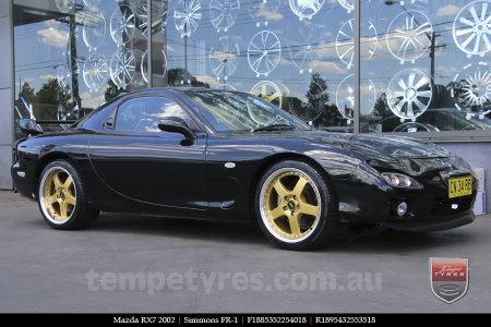 18x7.0 18x8.5 Simmons FR-1 Gold on MAZDA RX7