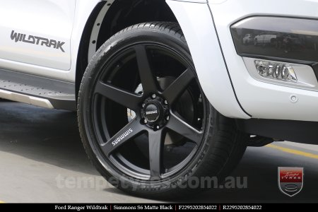 22x9.5 Simmons S6 Matte Black on FORD RANGER WILDTRAK
