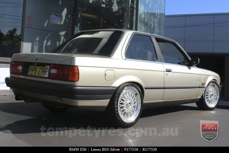 17x7.5 Lenso BSX Silver on BMW E30