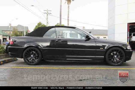 18x8.0 M3CSL Black on BMW 330CI E46