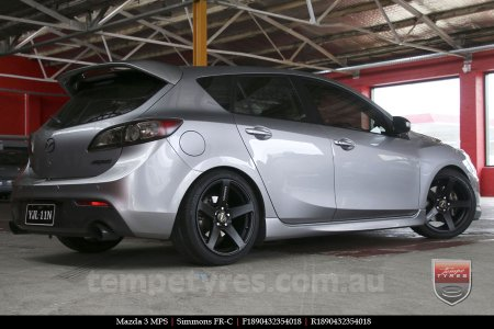 20x8.5 20x10 Simmons FR-C Full Satin Black on MAZDA 3