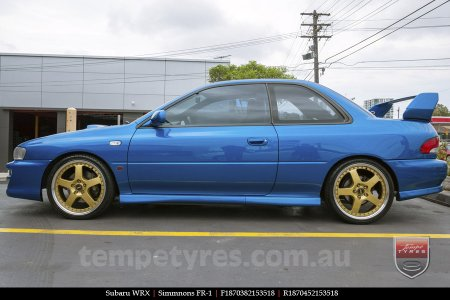 18x7.0 18x8.5 Simmons FR-1 Gold on SUBARU WRX