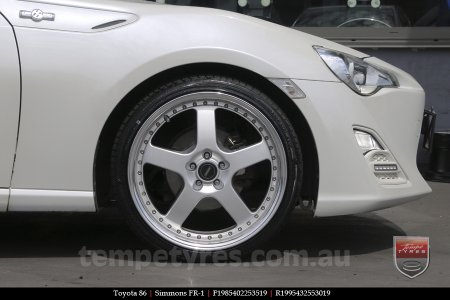 19x8.5 19x9.5 Simmons FR-1 Silver on TOYOTA 86