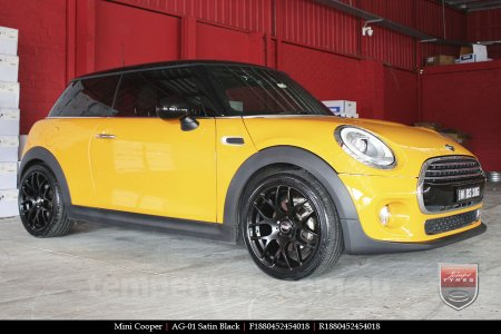 18x8.0 AG-01 Satin Black on MINI COOPER