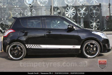 18x7.0 18x8.5 Simmons FR-1 Gloss Black on SUZUKI SWIFT