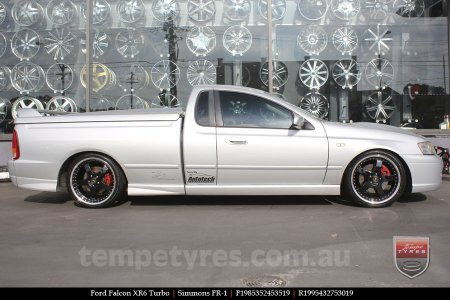 19x8.5 19x9.5 Simmons FR-1 Gloss Black on FORD FALCON