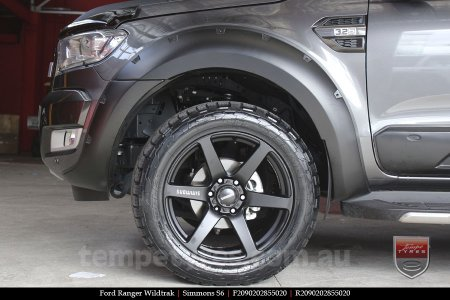 20x9.0 Simmons S6 Matte Black on FORD RANGER WILDTRAK