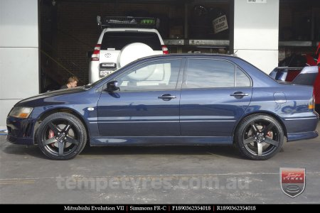 18x8.0 18x9.0 Simmons FR-C Matte Black NCT on MITSUBISHI EVOLUTION