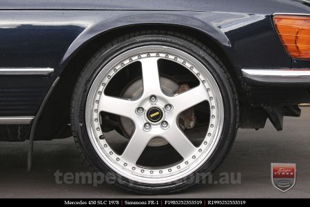 19x8.5 19x9.5 Simmons FR-1 Silver on MERCEDES 450 SLC