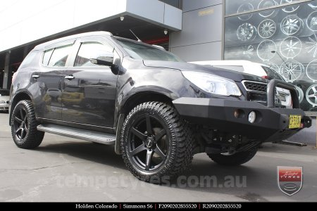 20x9.0 Simmons S6 Matte Black on HOLDEN COLORADO