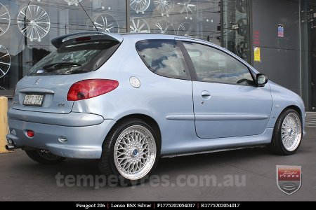 17x7.5 Lenso BSX Silver on PEUGEOT 206