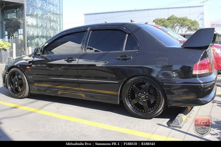 18x8.5 18x9.5 Simmons FR-1 Satin Black on MITSUBISHI EVO