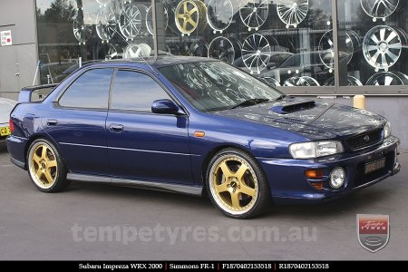 18x7.0 18x8.5 Simmons FR-1 Gold on SUBARU IMPREZA WRX