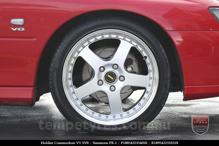 18x8.5 18x9.5 Simmons FR-1 Silver on HOLDEN COMMODORE