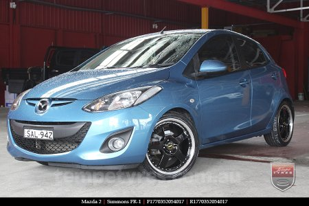 17x7.0 17x8.5 Simmons FR-1 Gloss Black on MAZDA 2