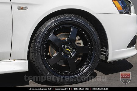 18x8.5 18x9.5 Simmons FR-1 Satin Black on MITSUBISHI LANCER