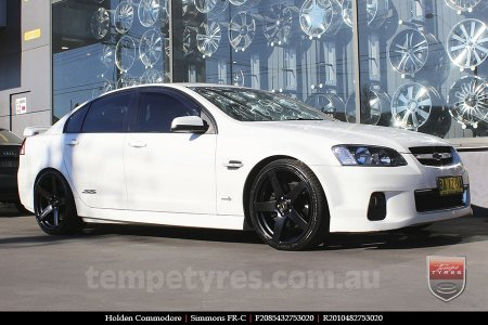 20x8.5 20x10 Simmons FR-C Satin Black NCT on HOLDEN COMMODORE