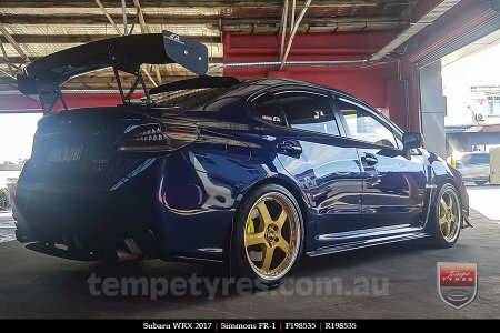 19x8.5 19x9.5 Simmons FR-1 Gold on SUBARU WRX