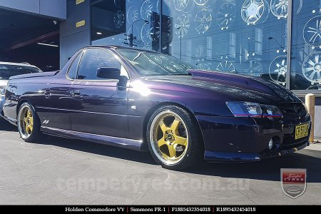 18x8.5 18x9.5 Simmons FR-1 Gold on HOLDEN COMMODORE VY
