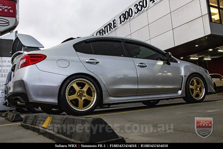 18x8.5 18x9.5 Simmons FR-1 Gold on SUBARU WRX