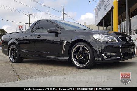 19x8.5 19x9.5 Simmons FR-1 Gloss Black on HOLDEN COMMODORE VF