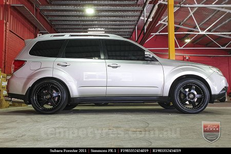 19x8.5 19x9.5 Simmons FR-1 Satin Black on SUBARU FORESTER
