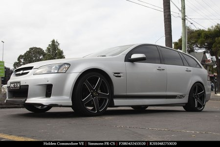 20x8.5 20x10 Simmons FR-CS Satin Black NCT  on HOLDEN COMMODORE VE