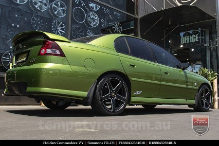 18x8.0 18x9.0 Simmons FR-CS Matte Black NCT on HOLDEN COMMODORE VY