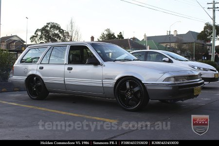 20x8.5 20x9.5 Simmons FR-1 Satin Black on HOLDEN COMMODORE VL