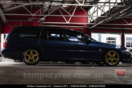 18x8.5 18x9.5 Simmons FR-1 Gold on HOLDEN COMMODORE VX