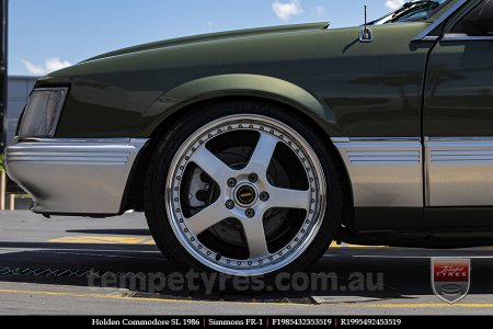 19x8.5 19x9.5 Simmons FR-1 Silver on HOLDEN COMMODORE SL