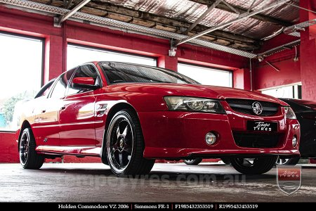 19x8.5 19x9.5 Simmons FR-1 Gloss Black on HOLDEN COMMODORE VZ