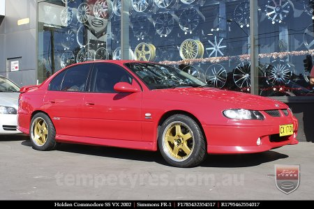 17x8.5 17x9.5 Simmons FR-1 Gold on HOLDEN COMMODORE