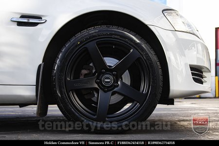 18x8.0 18x9.0 Simmons FR-C Matte Black NCT on HOLDEN COMMODORE VE