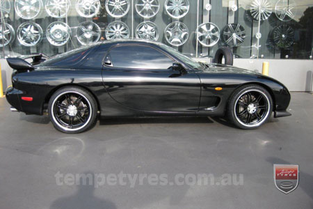 19x8.0 19x10 Lenso GF7 Black on MAZDA RX7