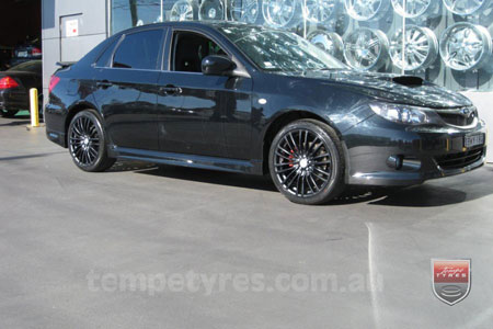 18x8.0 Lenso Como Black on SUBARU IMPREZA