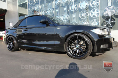 19x8.5 GTS-R Black on BMW 1 SERIES