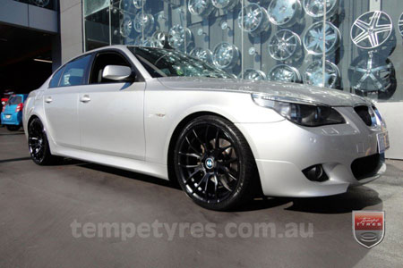 19x8.5 19x9.5 GTS-R Black on BMW 5 SERIES