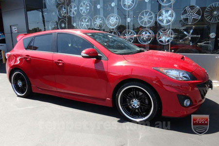 19x8.0 19x10 Lenso GF7 Black on MAZDA 3 MPS