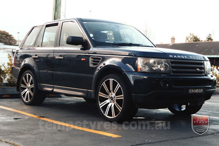 22x10 Stormer Black Machine Face on RANGE ROVER SPORT