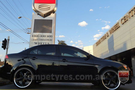 20x8.5 20X10 Lenso Groove Black on MITSUBISHI LANCER
