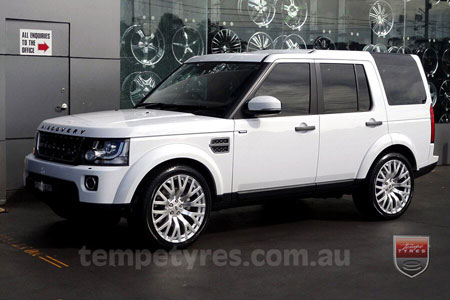 22x10 Cosworth Silver on LAND ROVER DISCOVERY 4